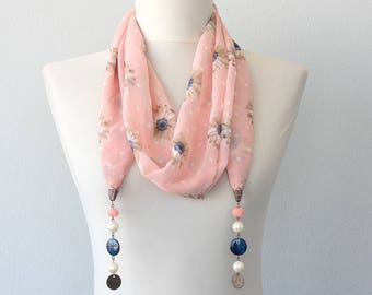 Beaded scarf necklace, valentines day gift for her, pink necklace, womens fashion accessories, ladies scarves, mothers day gift bohemian