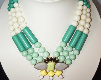 Mint & Kelly green statment necklace