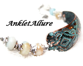 COPPER Anklet Amazonite Ankle Bracelet Cuff Anklets for Women Stone
