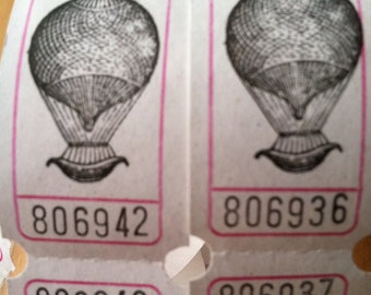 Vintage Style Hand Stamped Steampunk Hot Air Balloon Carnival Tickets