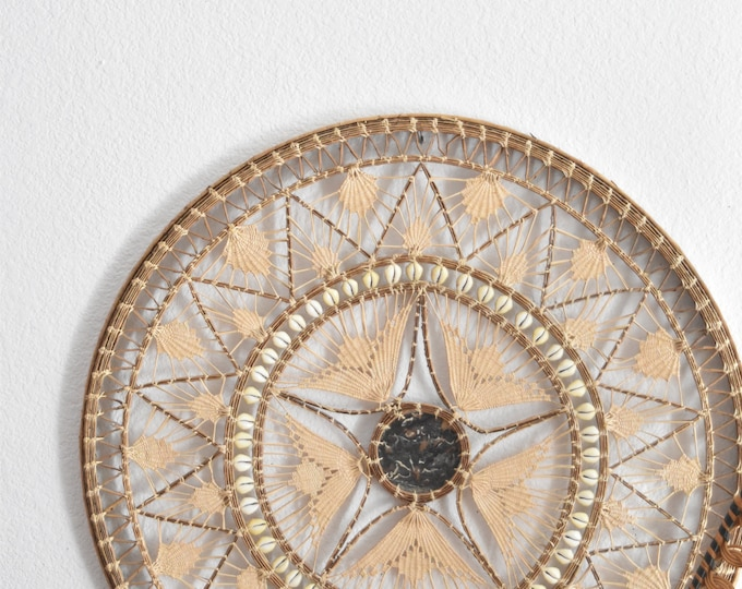 giant woven straw shell wall hanging trivet / wall basket