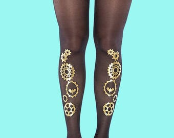 Women's tights Steampunk gold, Halloween costume available in S-M, L-XL, gift ideas