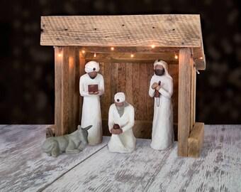 Nativity Creche BARN Reclaimed Barnwood for Willow Tree
