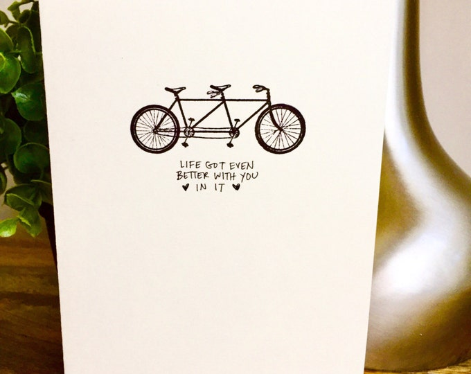 One Year Anniversary Card for wife, Paper Anniversary, bicycle, bike, 365 days, 1st wedding anniversary, one year anniversary, love note