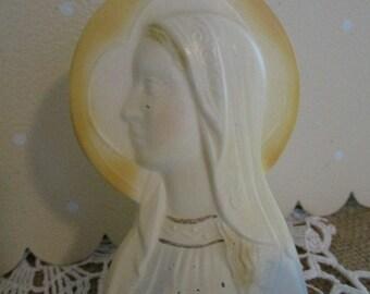 Vintage Cast Metal Virgin Mary Vintage Madonna Religious Figurine Signed Overbach