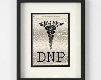 DNP Gift - DNP, Doctor of Nursing Practice, over Vintage Medical Book Page - DNP Graduation Gift, Doctor of Nursing Practice Gift