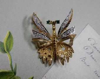 Sterling Silver Vermeil & Rhinestone French Butterfly Brooch   ODT10