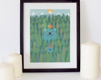 "Hide & Seek Bear Woods Print 8"" x 10"", Nursery Art, Nursery Decor"