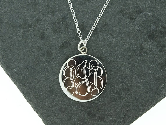 925 sterling silver large round circle monogram disc necklace like this item mozeypictures Choice Image