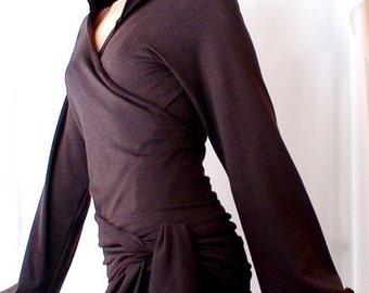 Organic cotton hoodie, brown wrap shirt, custom-made