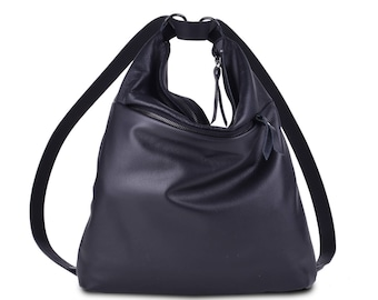 "Leather bag Backpack ""Emmanuelle Deluxe"" Noir shoulder Bag"