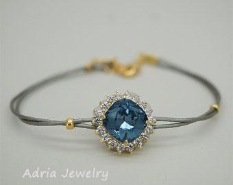 Navy blue bracelet,Navy blue Bridesmaid bracelet,blue bridesmaid gift,Swarovski bracelet,Blue crystal bracelet, Boho Bracelet in Gold