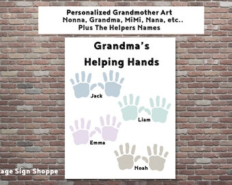 Grandma's Helping Hands, Mothers Day Gift Ideas, Gifts For  Grandmothers,INSTANT DOWNLOAD, Grandmother Gifts, Personalized Gifts,Nonna Gifts