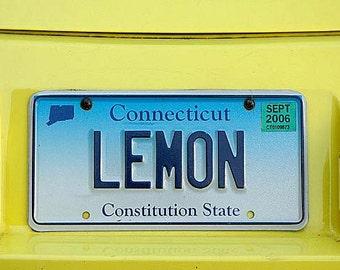 LEMON License Plate, Funny Conn Art, Connecticut VW Volkswagen Beetle, Bug