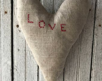Primitive Linen LOVE Heart Pillow Hand Sewn Rag Filled Cross Stitch Early Look