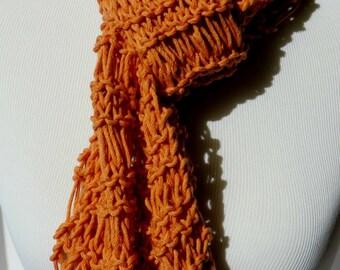 Tangerine Scarf - Summer Knit Scarf - Tangerine Orange Scarf - Drop Stitch Scarf - Lightweight Scarf - Cotton Blend Scarf - Vegan Scarf