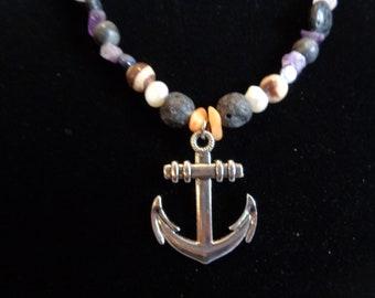 Plain Silver Anchor on Ocean Themed Beaded Necklace