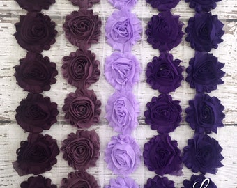 Shabby Chiffon Flower Trim - Your Choice of Color And Quantity! PURPLE SCHEME - 1/2 yard or 1 yard - Grape - Lavender - Plum - Purple