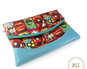 Ready to Ship Marvel Superheroes Foldover Clutch - Marvel Foldover Clutch Handbag - Handmade Foldover Clutch - Teal Glitter Vinyl Clutch Bag