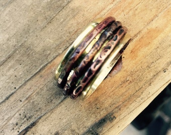 Wide Spinner Ring - Hammered Worry Ring - Copper Wedding Ring - Copper Spinner Ring - Meditation Ring - Eternity Ring