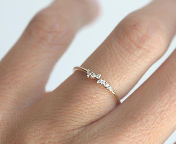 Tiny Diamond Cluster Ring Delicate Diamond Ring Delicate