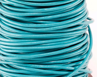10 Meters of 3MM Turquoise Round Leather Cord (10 yards) (10m)
