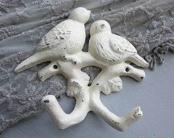 Birds Double Wall Hook Creamy White Old White Distressed Cast Iron Posh Romantic Shabby Chic Cottage Garden French Farmhouse Decor