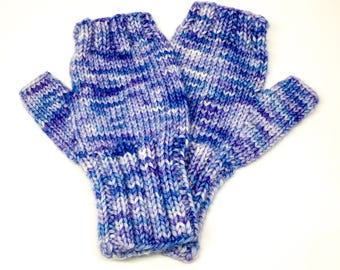 Merino wool fingerless gloves - wrist warmers - hand dyed and knitted