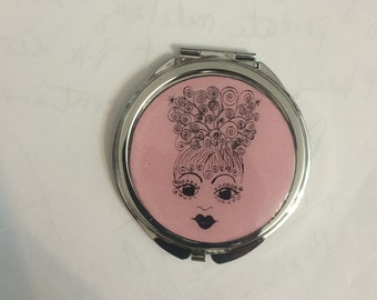 Pink Retro Glamour Girl Small Round Silver Mirror Compact