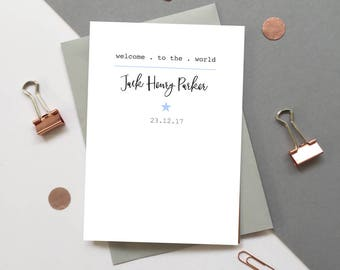 New Baby boy card - Personalised baby boy card - Personalized baby boy card - Custom new baby boy card - Welcome to the world baby boy card