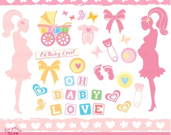 Oh Baby Love, Baby Shower Pastel Clip Art Set