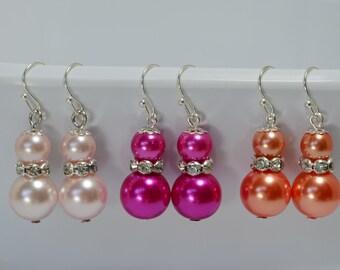 Pearl Dangle Earrings, Coral Pearl Earrings, Blush Pearl Earrings, Hot Pink Pearl Earrings, Bridal Jewelry,Pearl Jewelry, Pearl Earrings