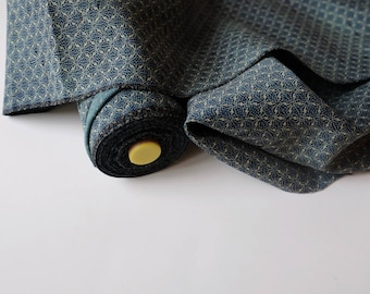 Aqua Blue Wool Kimono Fabric unused bolt by the yard Blue Green abstract rhombus dots with Bokashi cloud background  Wool OFF the bolt