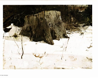 Up in the Woods and Cider Apples, large prints painted by Andrew Wyeth. Andrew Wyeth bookplate, Wyeth book print, Wyeth Prints, Wyeth Decor