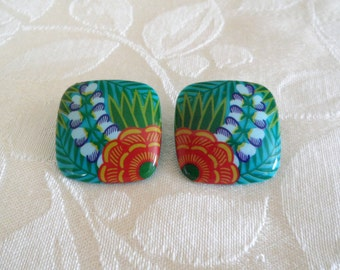 Multi Color Square Post Pierced Earrings