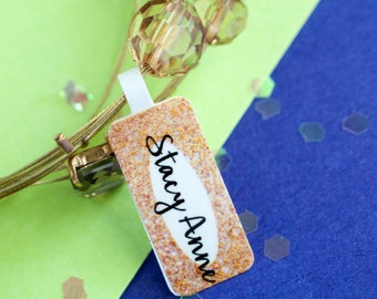 Custom jewelry tags- white paper sticker laminated full color double sided printing- gold glitter design
