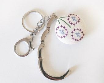 Handbag Hook Key Ring and Bag Charm, Purse Hook Hanger Key chain, Bag Hook, Folding Purse Hanger in Calico