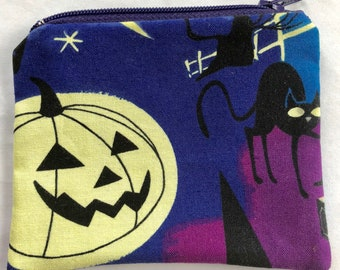 Halloween Coin Pouch: Frankenstein, Black Cat, Jack-o-Lantern.