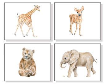 Animal Nursery Print Set Of 4 Animal Nursery Decor Baby Animal Prints Baby Art Childrens Art Kids Art Watercolor Giraffe Elephant Bear Deer.