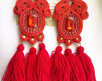 soutache earrings with tassels
