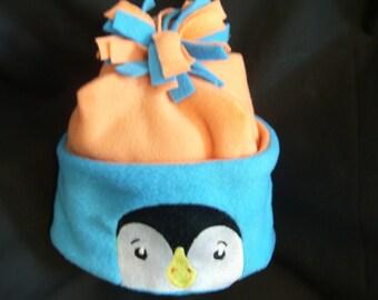 Embroidered Child's Cool Weather Fleece Hat with Penguin  Design. Unisex Orange & Blue Fleece Child's Hat