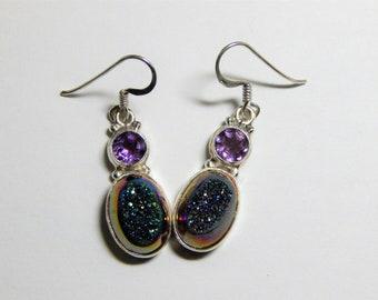Lovely 925 Sterling Druzy & Amethyst Earrings - Shimmering Genuine Druzy Quartz with Amethyst Silver Earrings - 925 Drop Dangle Earrings