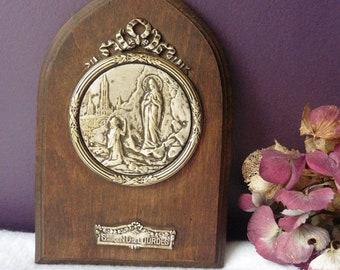 Antique French Frame Medal Vocable Ex-Voto Apparition Virgin Souvenir Lourdes, Altar, Mary, Reliquary, Catholic, Religious, Medallion, Saint