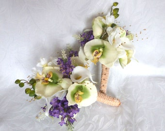 Orchid wedding bouquet green and creme orchid and rose with lilacs bouquet and boutonniere set