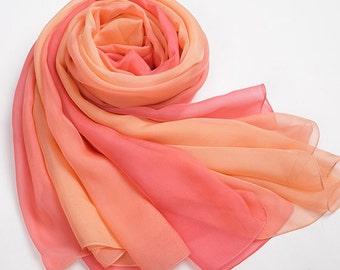 Gradient Colour Silk Chiffon Scarf - Orange and Coral Gradient Coloured Silk Chiffon Scarf - Coral Silk Scarf- Orange Silk Scarf - AS2015-44