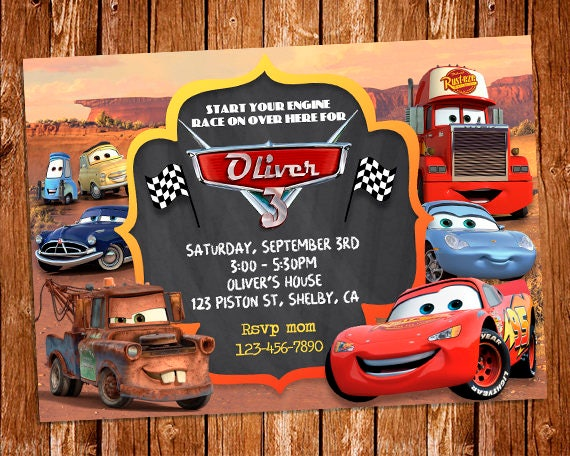 Delicate image with disney cars birthday invitations printable free