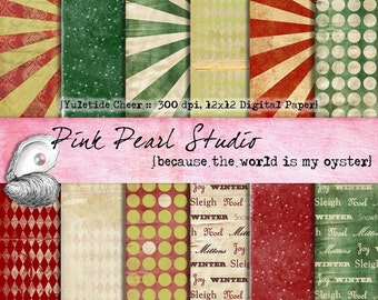 Yuletide Cheer Grungy Shabby Christmas Digital Paper Pack 12x12 Scrapbooking, Crafts and Cardmaking