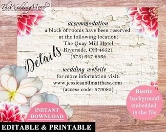 DIY Info Card Details Template Info Card Printable Wedding Details Card Info Card Template Hotel Welcome Bags Hotel Details Card Kraft 001