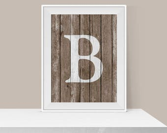 Christmas Gift Idea - Monogram Letter Wall Art - Rustic Home Decor - Wood Letter Art - Faux Wood Print - Gift for Her - Personalized Gift