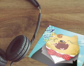 Postcard | Singing Cat | 15 x 15 cm
